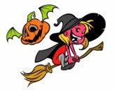 Strega di Halloween e zucca