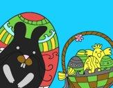 Cesto con uovo di Pasqua
