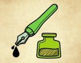 Penna stilografica e calamaio