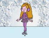 Ragazza pattinatore su ghiaccio