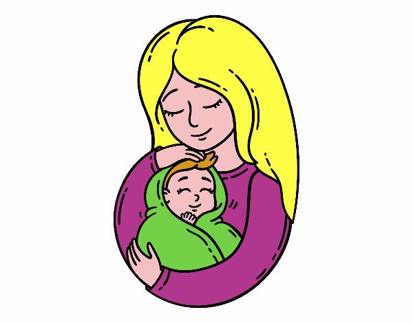 Disegno Una Madre E Il Suo Bambino Colorato Da Utente Non Registrato