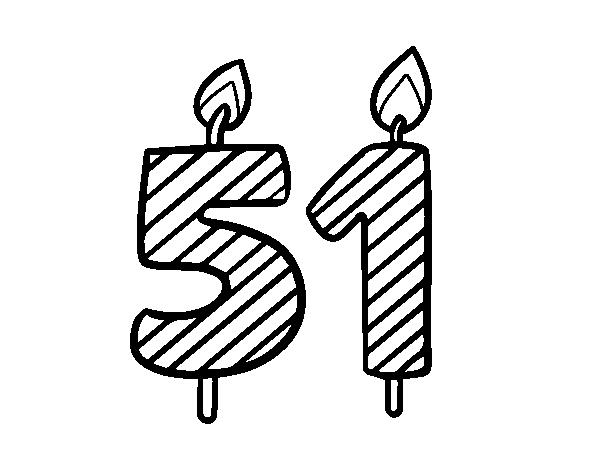 Disegno Compleanno: Disegno Di 51 Anni Da Colorare