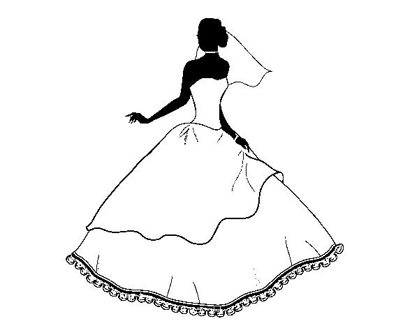 Vestiti Da Sposa Da Colorare.Disegno Di Abito Da Sposa Da Colorare Acolore Com