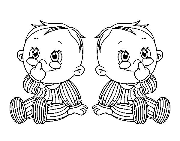 Disegno Di Bambini Gemelli Da Colorare Acolore Com