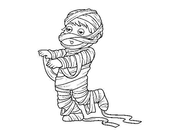Disegno Di Bambino Vestito Come Una Mummia Da Colorare Acolorecom