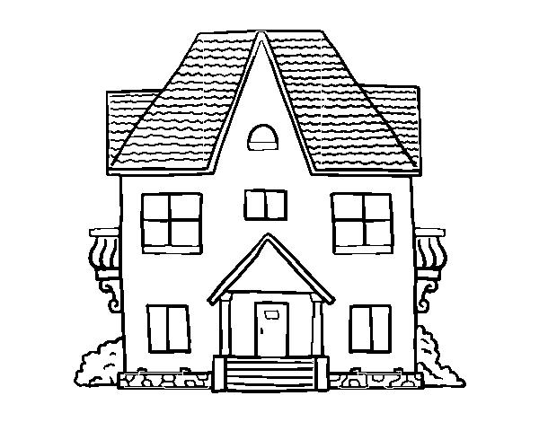 Disegno Di Casa Con Balconi Da Colorare Acolorecom