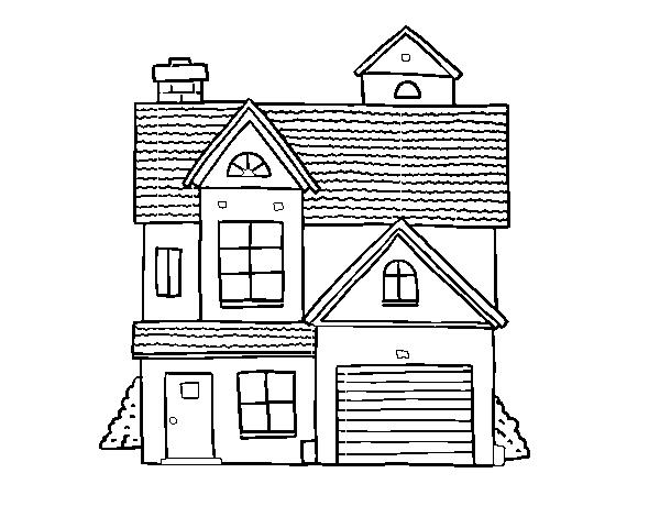 Disegno di casa di famiglia americana da colorare for Disfare la valigia in inglese