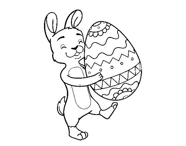 Disegno Di Coniglio Con Enorme Uovo Di Pasqua Da Colorare Acolore Com