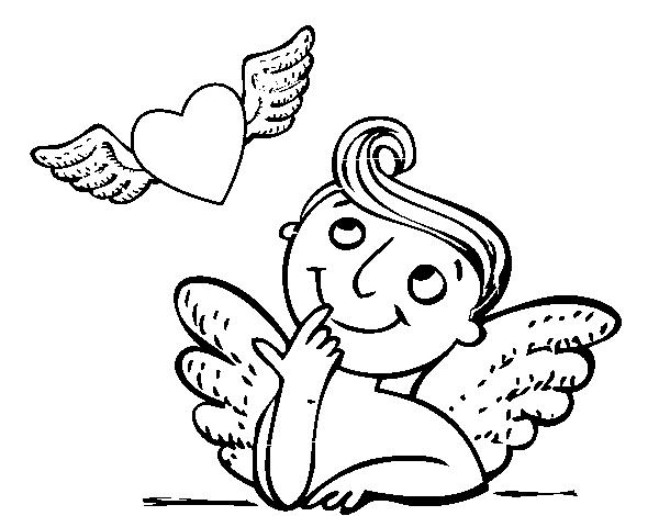 Disegno Di Cupido E Cuori Con Le Ali Da Colorare Acolore Com