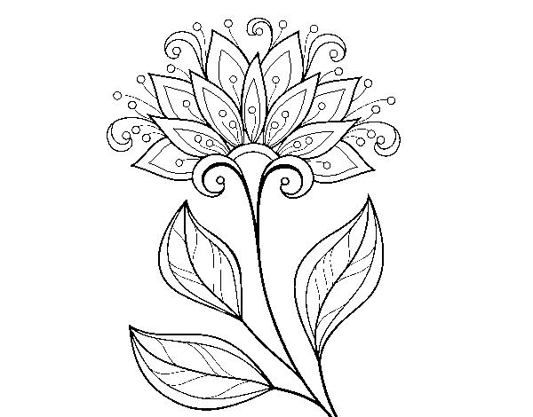 Disegno Di Rosa Con Foglie Da Colorare Acolore Com: Disegno Di Fiore Decorativo Da Colorare