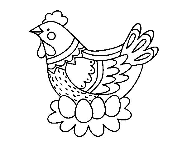 Disegno Di Gallina Con Le Uova Di Pasqua Da Colorare Acolore Com
