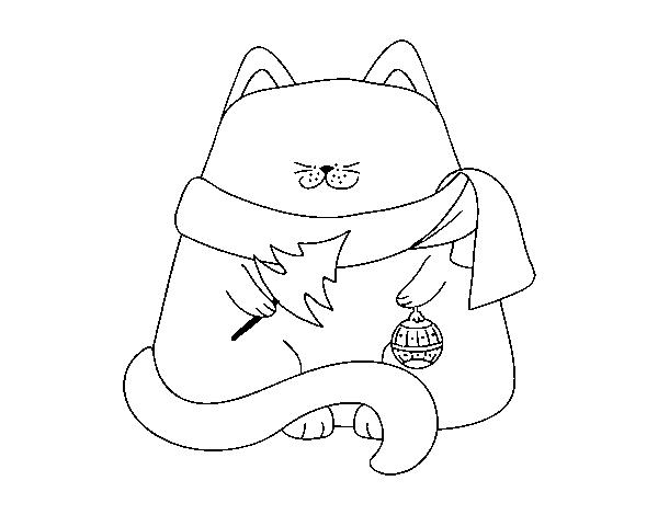 Disegno Di Gatto Con Decorazioni Natalizie Da Colorare