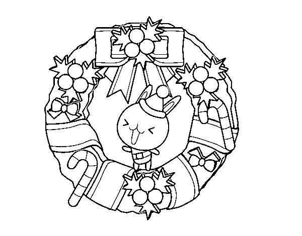 Disegni Di Natale Ghirlande.Disegno Di Ghirlanda Di Natale E Coniglietto Da Colorare