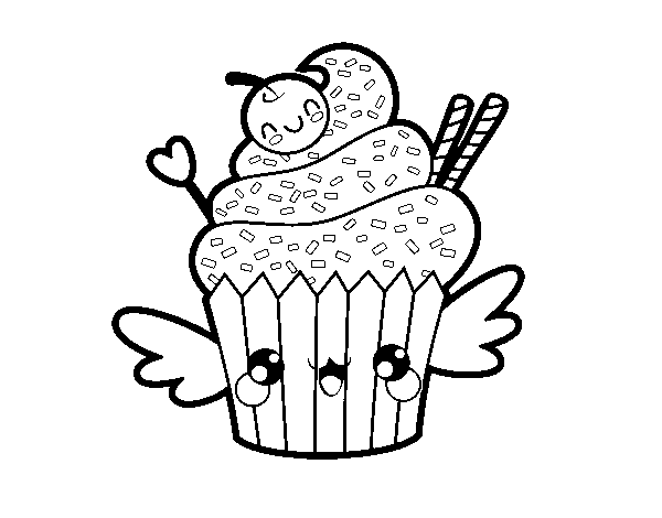 Disegno Di Il Cupcake Kawaii Da Colorare Acolorecom