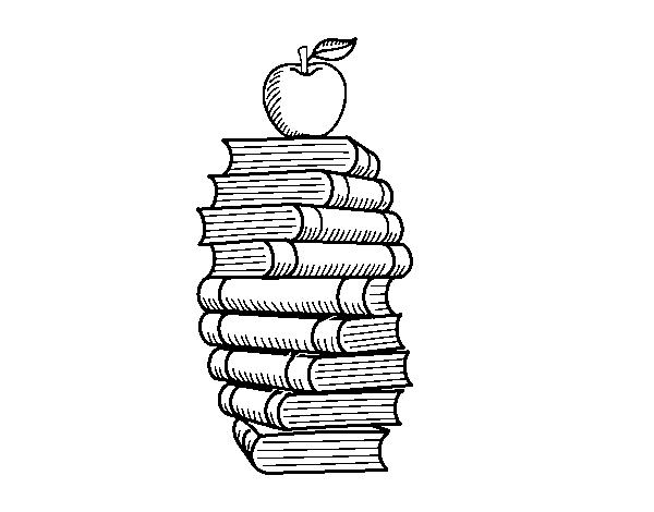 Disegno Di Libri E Mela Da Colorare Acolore Com