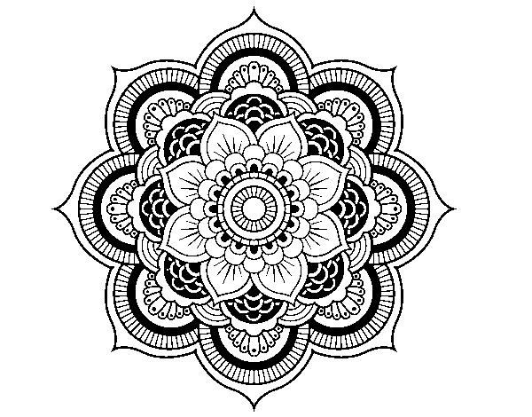 Disegno di mandala fiore orientale da colorare for Mandala da colorare con animali