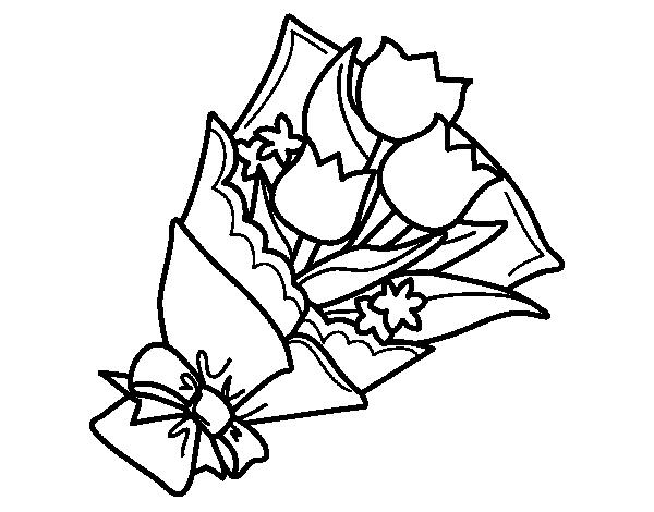 Disegno Di Mazzo Di Tulipani Da Colorare Acolore Com