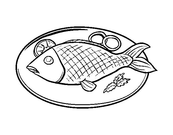Disegno Di Piatto Di Pesce Da Colorare Acolorecom