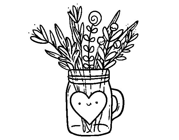 Disegno Di Pot Con I Fiori Selvatici E Un Cuore Da Colorare