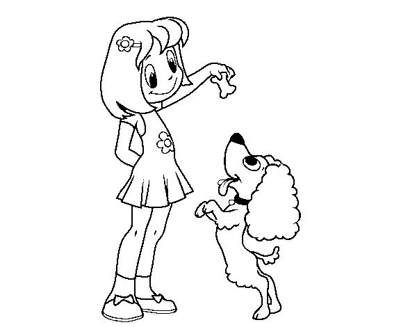 Disegno di ragazza con cucciolo da colorare - Cucciolo da colorare stampabili ...
