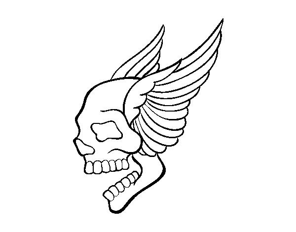 Disegno Di Tatuaggio Di Teschio Con Le Ali Da Colorare Acolore Com