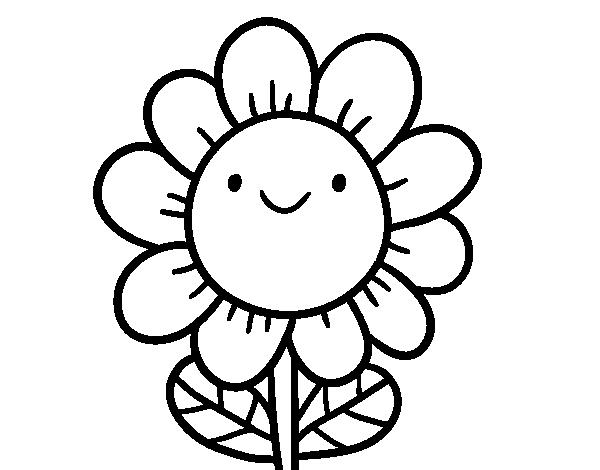 Disegno Di Rosa Con Foglie Da Colorare Acolore Com: Disegno Di Un Fiore Sorridente Da Colorare