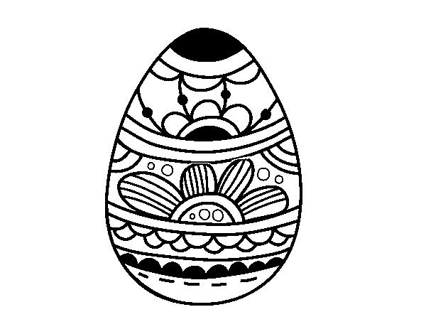 Disegno Di Uovo Di Pasqua Con Stampa Floreale Da Colorare Acolore Com