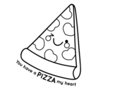 Disegno di You have a pizza my heart da colorare