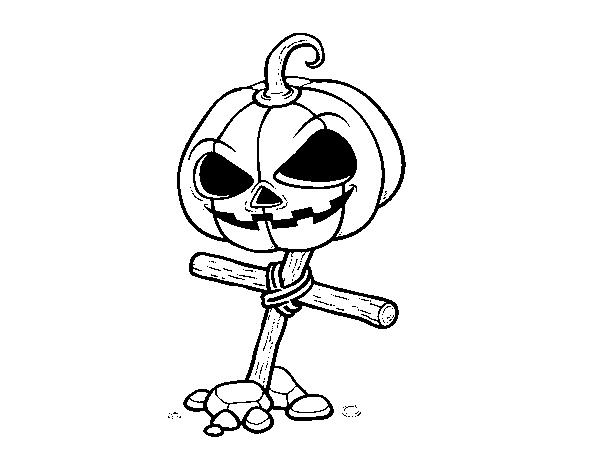 Zucca Halloween Da Colorare: Disegno Di Zucca Di Halloween In Croce Da Colorare