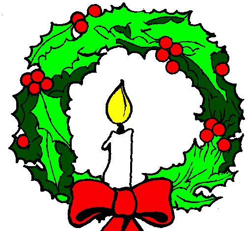 Disegno corona augurale con una candela colorato da utente for Addobbi natalizi maestra mary