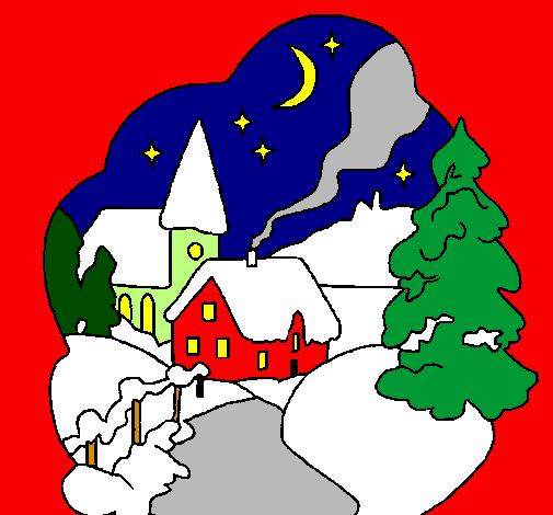 Disegni Paesaggi Di Natale.Disegno Villaggio Natalizio Colorato Da Utente Non Registrato Il 31 Di Maggio Del 2010