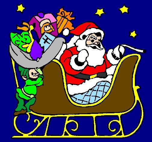 Foto Della Slitta Di Babbo Natale.Disegno Babbo Natale Alla Guida Della Sua Slitta Colorato Da Utente Non Registrato Il 02 Di Luglio Del 2009