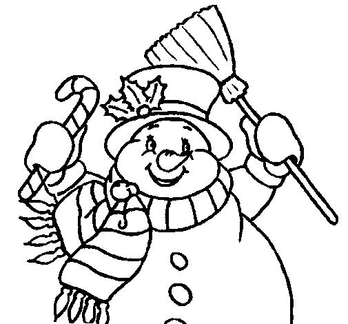 Disegno Pupazzo Di Neve Con La Sciarpa Colorato Da Utente Non