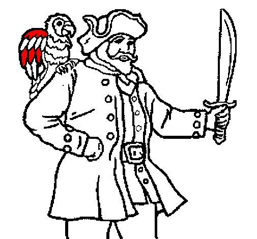 Pirati Dei Caraibi Disegno.Disegno Pirata Con Il Pappagallo Colorato Da Utente Non Registrato