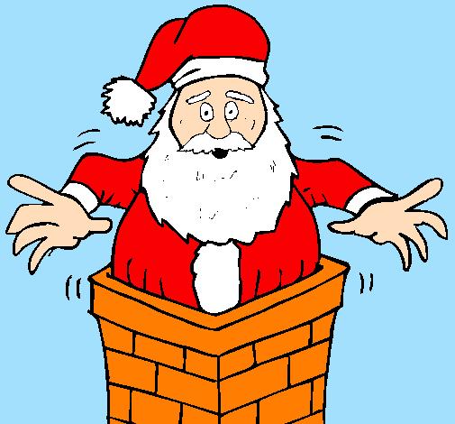 Disegno Babbo Natale Sul Ciminiera Colorato Da Utente Non Registrato