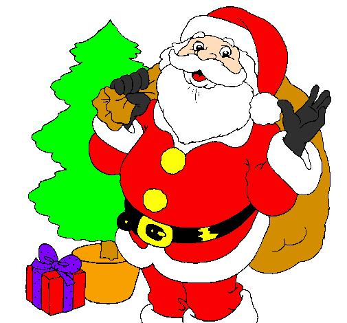 Immagini Di Natale Colorate.Disegno Babbo Natale Con L Albero Di Natale Colorato Da