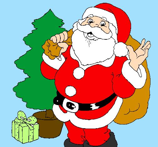 Immagini Colorate Di Babbo Natale.Disegno Babbo Natale Con L Albero Di Natale Colorato Da Utente Non Registrato Il 03 Di Febbraio Del 2012