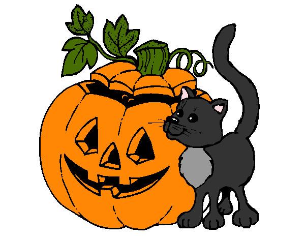 Disegno zucca e gatto colorato da samell il 30 di ottobre for Zucca di halloween disegno