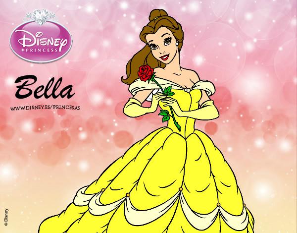 Disegno la bella e la bestia principessa belle colorato for La bella e la bestia disegni da colorare